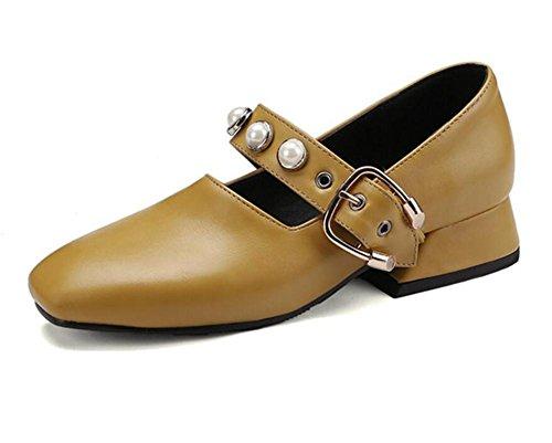 Taille Carré Femmes Cuir Chaussures Douce Bout Mary Princesse En 35To42 Perle Jane xie xXPgnOg