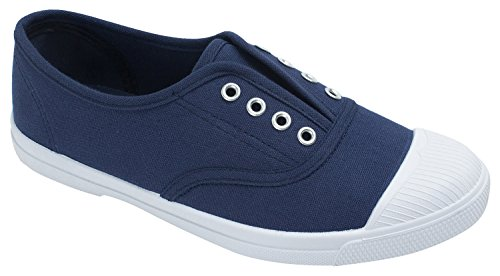 AnnaKastle Womens Laceless Canvas Sneaker,Navy,US 6,B(M)