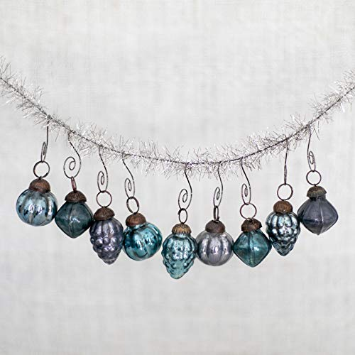 Christmas Mercury Glass - Blue Glass Mercury Vintage Antique Style Ornaments - Includes 9 Swirl Tree Hooks - Perfect for Xmas or Hanukkah