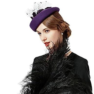 Fascinator Hat Womens Wool Felt Pillbox Hat with Flower Ladies Party Fedoras