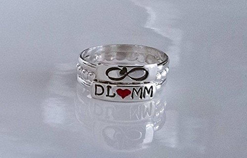 e2cafeb30a Amazon.com: Personalized Sterling Silver Stacking Ring, Custom ...