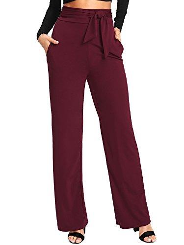 SheIn Women's Casual Stretchy High Waist Wide Leg Dress Pants Tie Burgundy Large by SheIn