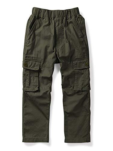 Mesinsefra Boy Cargo Pants Casual Trousers Solid Color Slacks Army Green 130cm