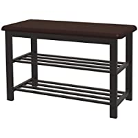 Simple Houseware Entryway Shoes Storage Bench 2-Tier Organizer Rack, Faux Leather