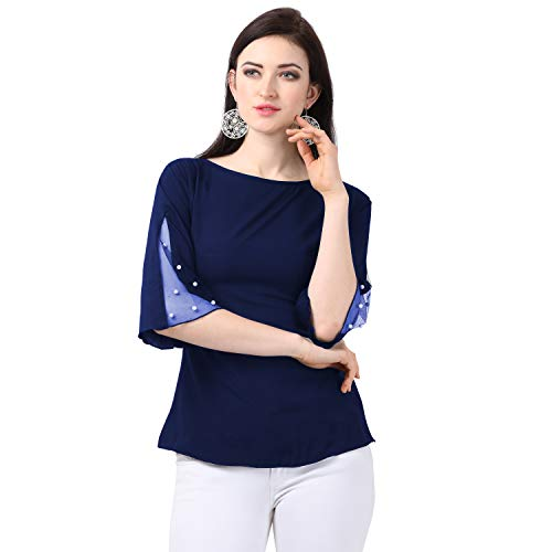 Red Rose Fashion Casual Flared Sleeve Embellished Women Top
