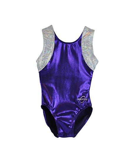 Obersee Kid's Gymnastics Leotard, Cross Back Purple, CS (Leotard Cs)