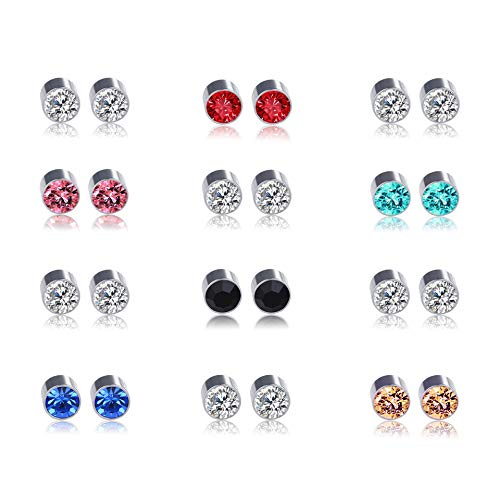 Shoopic 12 Pairs Cubic Zirconia Earrings Magnetic Stud Earrings for Women
