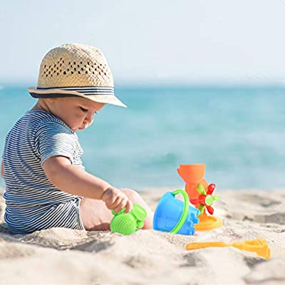 FUN LITTLE TOYS Beach Wagon Toys Set for Kids, Sand Toys Kids Outdoor Toys, Sandbox Toys Set with Big Sand Wagon and Other Beach Toys - 8 PCs: Toys & Games