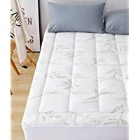 Elegant Comfort Premium Bamboo Mattress Pad-Overfilled Extra Plush Topper Hypoallergenic Breathable Cool Flow Technology, 16 Deep Pocket, California King, Green