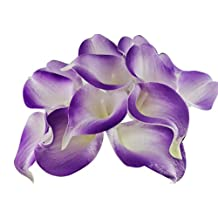 Latex Faux Flower Real Touch Artificial Calla Lily Flower Bouquet Wedding Party Home Garden Restaurant Decoration - Bunch of 10 (Lilac-Purple)