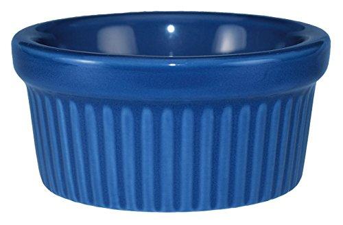 International Tableware Ceramic Fluted Ramekin, 3 oz, Light Blue (Blue Light Cancun Plate)