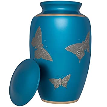 Liliane Memorials Acuarela-L Brass Sky Funeral Cremation Urn with Silver Butterflies, Large 200 lb, Blue