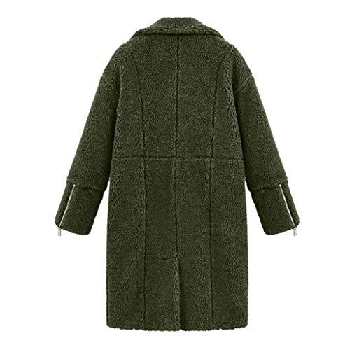 Manches Longue Peluche Hiver Solide À Femme De Manteau Armée Poche Verte Longues Revers Veste v5TnqT