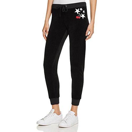 Discount Designer Clothing Handbags Shoes - Juicy Couture Womens Pop Zuma Velour Applique Sweat Pants Black S
