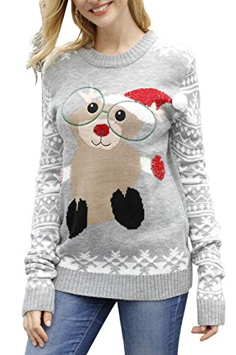 Sovoyontee Women Squirrel Knit Ugly Christmas Sweater Grey-Squirrel Medium (Womens Squirrel Sleeve Long)