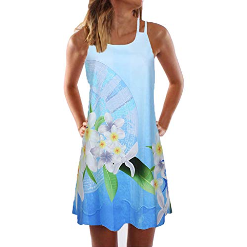 Sunhusing Womens Sling Off-Shoulder Flower Print Tank Top Dress Sleeveless Mini A-Line Beach Sundress Blue (Green Print Software)