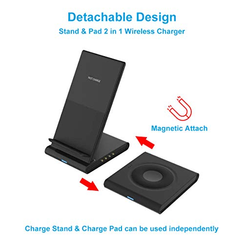 LDFAS Wireless Charger Dou Stand, 2 in 1 Dual 10W Qi-Certified Fast Charging Pad/Dock Compatible for Samsung Galaxy Watch 3 41mm/45mm/42mm/46mm/Active 2, Galaxy Buds, Gear S3, S20+ Ultra/Note 20/10