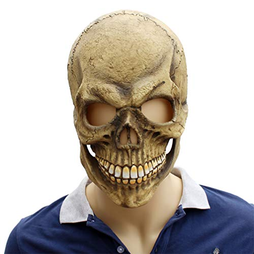 Novelty Creepy Scary Horror Halloween Cosplay Party Costume Latex Head Mask - Haunted House Skull]()