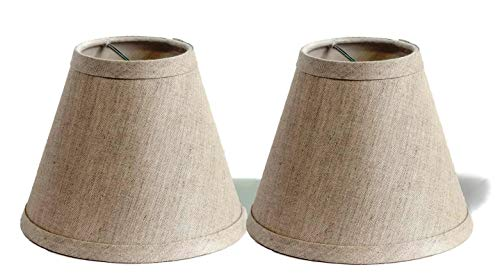 (Urbanest Pure Linen Chandelier Lamp Shades, 6-inch, Hardback Clip On, Oatmeal(Set of)