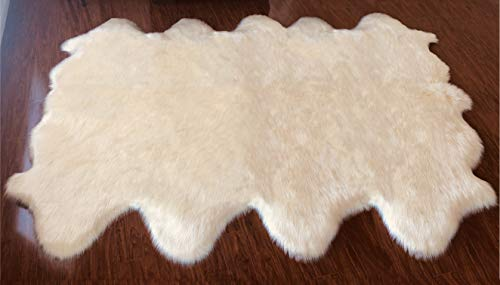 Sheepskin Octo Rugs - Super Soft Faux Sheepskin Free Shape Silky Shag Rug (Octo 8 Pelts 6'x8', White)