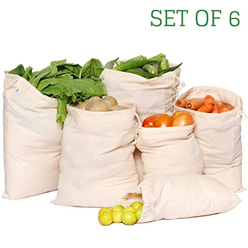 Greenmile Set of 6 Organic Cotton Reusable Fridge Storage Bags | Perfect for Fruits and Vegetables (2 Each of Large…