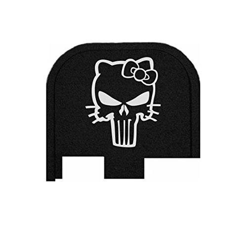 Bastion Laser Engraved Butt Plate, Rear Slide Cover Back Plate for Glock 43 9mm G43 ONLY - HELLO KITTY SKULL