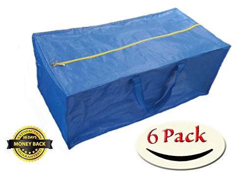 Super 6 Pack Zippered Storage Bags, Extra Large - Blue - Compatible with IKEA Frakta Storage Bag Trolley (6) (6 Super Bag Pack)