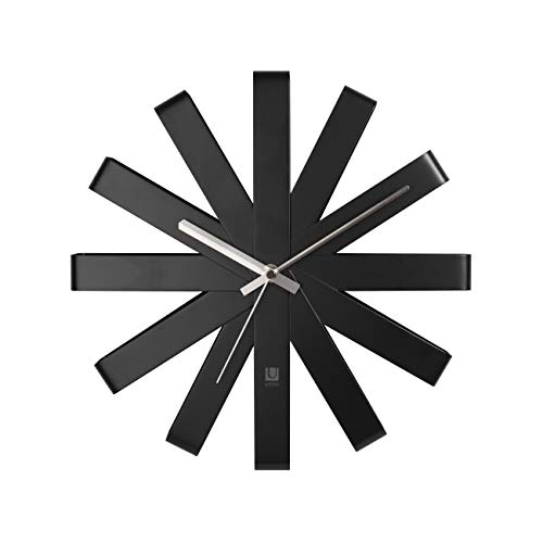 Umbra Ribbon Modern 12-inch Wall Clock, Battery Operated Quartz Movement, Silent Non Ticking Wall Clocks, Black