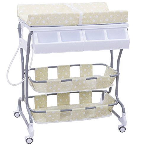 MD Group Baby Changing Table Green Foam & Steel Frame 3-in-1 Pyramid Style Infant Nursery Storage by MD Group