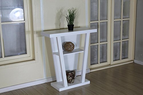 Angled Contemporary Hall Console Accent Table (White)