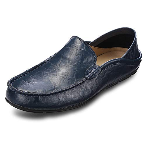 (KCatsy Genuine Leather Casual Peas Shoes for Men Blue)
