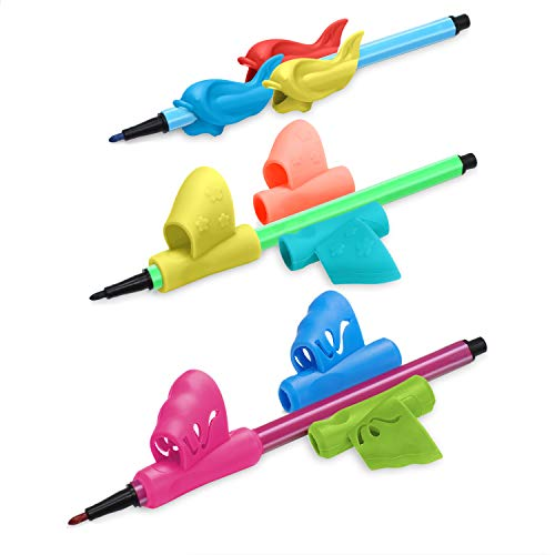 Pencil Grips - Upgrade Pencil Holder for Kids, Ergonomic Pen Writing Aid Finger Grippers Handwriting Correction Tool for Kids Preschoolers Children Adults, Assorted Colors, 9PCS (Butterfly Set)