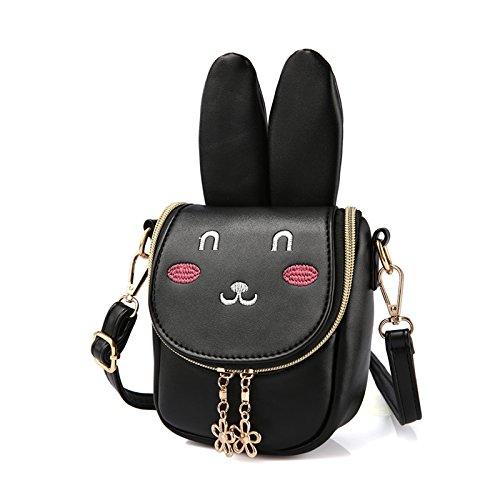 Nero Pergamena bambini a Borsa ragazza spalla pacchetto cute cerniera Rate Durable di regalo Rosa sacchetto bunny qHUrqwZ
