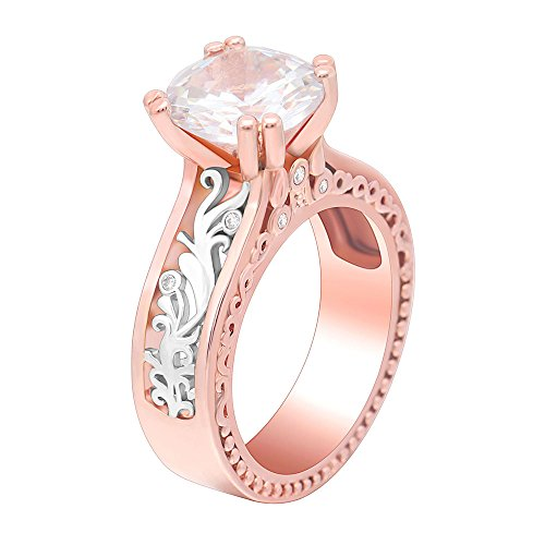 Ginger Lyne Collection Nadia Two-Toned Rose Gold Plated Engagement Bridal Ring
