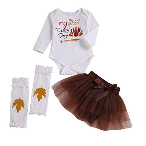 Infant Baby Thanksgiving Outfit Girls My First Turkey Day Romper Tops + Tutu Skirts + Leg Warmers 3PCS Set (White, 12-18 Months)