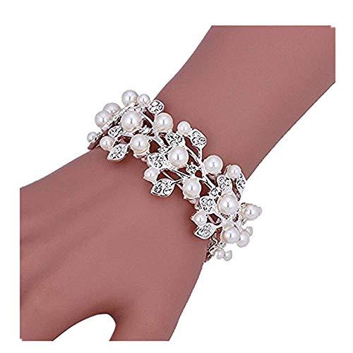 Sunshinesmile Bridal Wedding Jewelry Crystal Rhinestone Pearl Leaf Stretch Bracelet Silver
