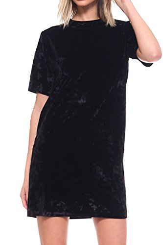 ICONOFLASH Women's Crush Velet T-Shirt Dress (Black, Small) (Mic Prom Dresses)