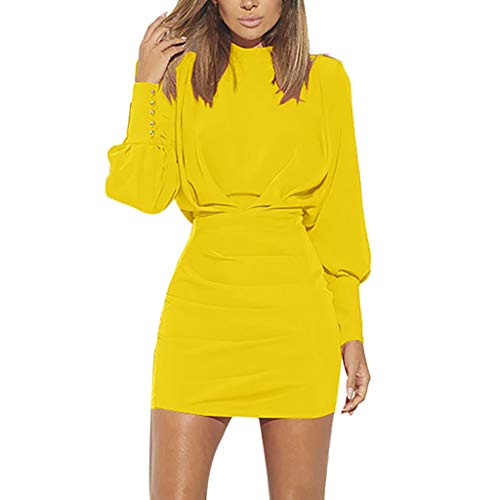 Sunhusing Women's Solid Color O-Neck Buttons Bundle Long Sleeve Dress Sexy Backless High Waist Mini Dress Yellow (Monograms Hip Mini)