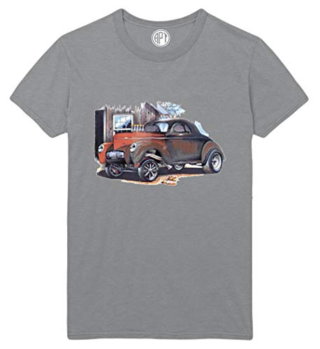 41 Willys Coupe Gas Car Printed T-Shirt - Athletic-Gray - -
