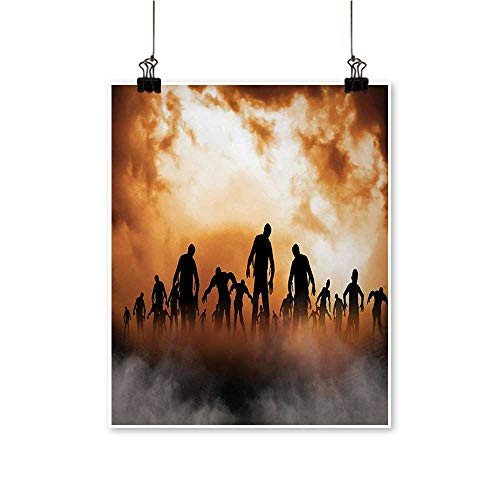 Canvas Painting Zombi Dead Men Body Walking The Doom Mist at Dark Night Sky Haunted Artwork for Living Room Decorations,24