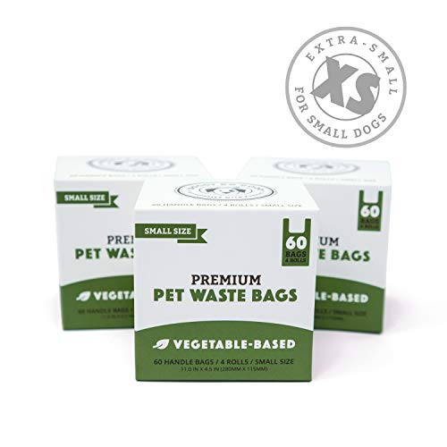 Biodegradable Poop Bags | Dog Waste Bags for Small Dogs & Puppies, Unscented, Vegetable-Based & Eco-Friendly, Premium Thickness & Leak Proof (3-Pack (180 ct))