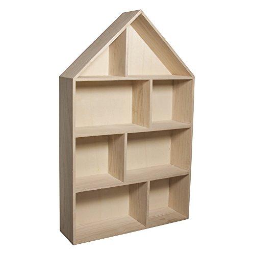 RAYHER 62611000 Holz-Setzkasten Haus,FSC Mix Credit, 30 x 50 x 8 cm, 8 Abteilungen zum Hängen