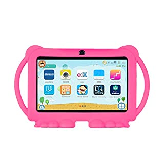 Xgody T702 7 Inch HD Kids Tablet PC for Kids Internet Class Quad Core Android 8.1 16GB ROM 1GB RAM Touch Screen with WiFi Pre-Loaded 3D Game Dual Camera (Pink)