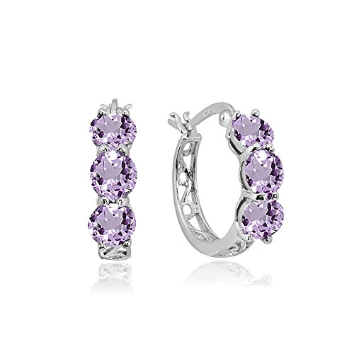 Sterling Silver Amethyst Round Filigree Three Stone Hoop Earrings