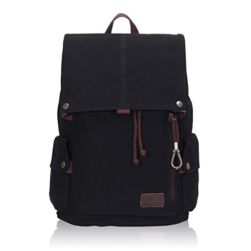 Hynes Eagle Casual Canvas Backpack for Men Women Boys Girls School Travel Rucksack Fits 15.6 Inch Laptop (Dark) (Trend Rucksack)