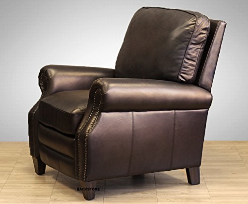 Barcalounger Briarwood II Leather Recliner Dark Coffee Leather with Espresso Wood Legs