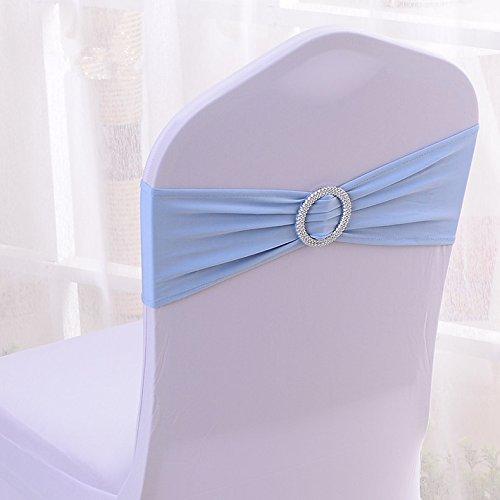 er Stretch Band With Buckle Slider Sashes Bow Hotel Wedding Banquet Decoration (50, Light Blue) (Satin Spandex Tie)