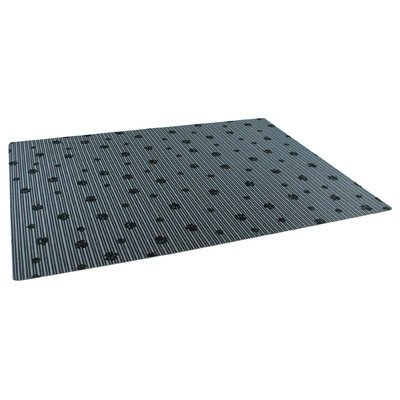 Dry Mate 20 inch x 28 inch Grey/Black Paw Striped Print Litter Mat