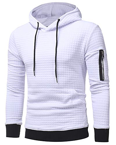 lexiart Mens Athletic Hoodies Pullover Fashion Solid Pocket Sweatshirt with Zipper White M