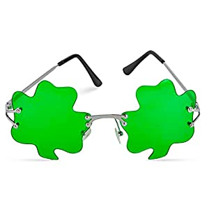 Shamrock Leaves Green Glasses